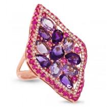 0.30ct Diamond & 6.41ct Amethyst & Pink Sapphire 14k Rose Gold Ring