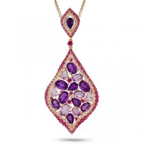 0.56ct Diamond & 11.00ct Amethyst & Pink Sapphire 14k Rose Gold Pendant Necklace