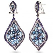 0.80ct Diamond & 18.91ct Blue & London Blue Topaz & Blue Sapphire 14k White Gold Earrings