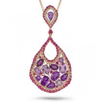 0.53ct Diamond & 8.27ct Amethyst & Pink Sapphire 14k Rose Gold Pendant Necklace