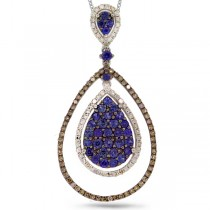 0.63ct White & Champagne Diamond & 1.00ct Blue Sapphire 14k White Gold Pendant Necklace