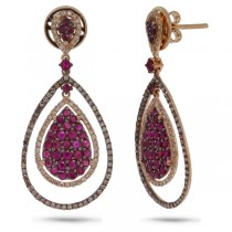 0.95ct White & Champagne Diamond & 1.97ct Ruby 14k Rose Gold Earrings