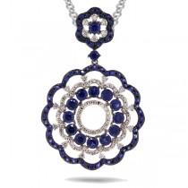 0.61ct Diamond & 3.88ct Blue Sapphire 14k White Gold Pendant Necklace