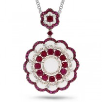 0.61ct Diamond & 4.33ct Ruby 14k White Gold Pendant Necklace