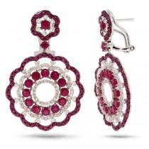 1.00ct Diamond & 6.38ct Ruby 14k White Gold Earrings
