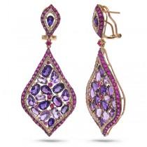 0.80ct Diamond & 15.22ct Amethyst & Pink Sapphire 14k Rose Gold Earrings