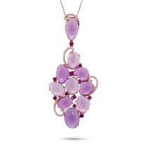 0.27ct Diamond & 25.93ct Amethyst & Pink Sapphire 14k Rose Gold Pendant Necklace