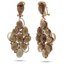 1.27ct White & Champagne Diamond & 39.77ct Smokey Topaz 14k Rose Gold Earrings