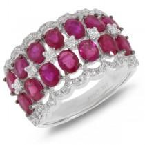 0.40ct Diamond & 3.02ct Ruby 14k White Gold Ring