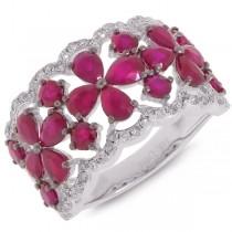 0.36ct Diamond & 3.48ct Ruby 14k White Gold Ring