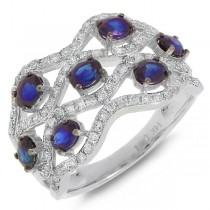 0.57ct Diamond & 1.66ct Blue Sapphire 14k White Gold Ring
