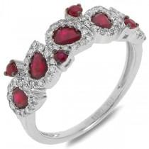 0.32ct Diamond & 1.23ct Ruby 14k White Gold Ring