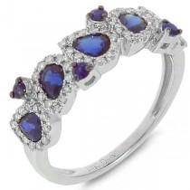 0.32ct Diamond & 1.29ct Blue Sapphire 14k White Gold Ring