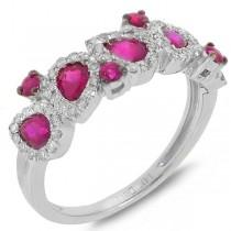 0.32ct Diamond & 1.36ct Pink Sapphire 14k White Gold Ring
