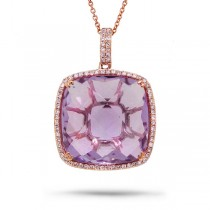 0.30ct Diamond & 17.69ct Amethyst 14k Rose Gold Pendant Necklace