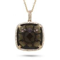 0.30ct Diamond & 17.11ct Smokey Topaz 14k Rose Gold Pendant Necklace