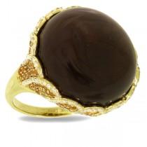 0.86ct Diamond & 39.75ct Smokey Topaz & Yellow Sapphire 14k Yellow Gold Ring