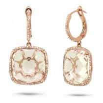 0.52ct Diamond & 21.73ct White Topaz 14k Rose Gold Earrings
