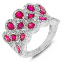 0.71ct Diamond & 2.43ct Pink Sapphire 14k White Gold Ring