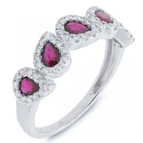 0.32ct Diamond & 0.91ct Ruby 14k White Gold Ring