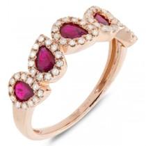 0.32ct Diamond & 0.91ct Ruby 14k Rose Gold Ring