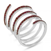 1.09ct 14k White Gold Ruby Spiral Lady's Ring