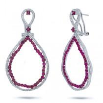 0.97ct Diamond & 3.09ct Ruby 14k White Gold Earrings