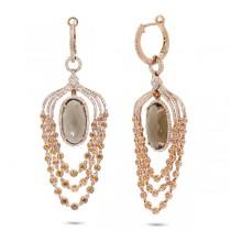1.09ct Diamond & 12.83ct Smokey Topaz & Yellow Sapphire 14k Rose Gold Earrings