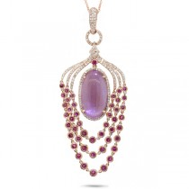 0.80ct Diamond & 12.08ct Amethyst, Pink Sapphire & Pink Pearl 14k Rose Gold Pendant Necklace