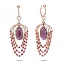 1.09ct Diamond & 14.91ct Amethyst, Pink Sapphire & Pink Pearl 14k Rose Gold Earrings