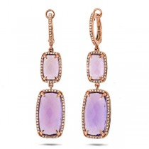 0.52ct Diamond & 14.28ct Amethyst 14k Rose Gold Earrings