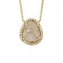 0.15ct Diamond & 2.49ct Golden Line Quartz 14k Yellow Gold Necklace