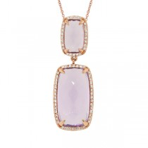 0.21ct Diamond & 8.99ct Amethyst 14k Rose Gold Pendant Necklace