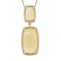 0.21ct Diamond & 8.91ct Citrine 14k Yellow Gold Pendant Necklace
