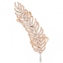 2.65ct 14k Rose Gold Diamond Feather Ring