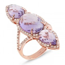0.56ct Diamond & 9.17ct Amethyst 14k Rose Gold Ring