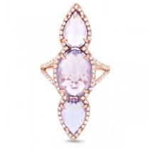 0.56ct Diamond & 9.17ct Amethyst 14k Rose Gold Ring
