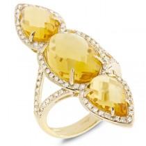 0.56ct Diamond & 8.94ct Citrine 14k Yellow Gold Ring