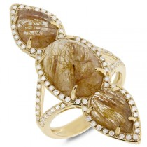 0.56ct Diamond & 9.33ct Golden Line Quartz 14k Yellow Gold Ring