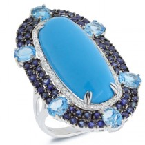 0.32ct Diamond & 15.73ct Composite Turquoise, Blue Sapphire & Blue Topaz 14k White Gold Ring