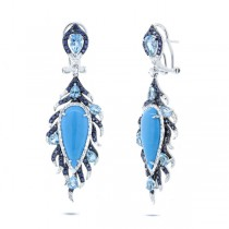 0.75ct Diamond & 11.58ct Composite Turquoise, Blue Sapphire & Blue Topaz 14k White Gold Earrings