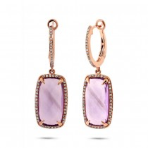0.34ct Diamond & 9.11ct Amethyst 14k Rose Gold Earrings