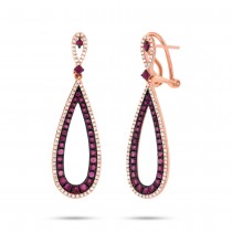 0.46ct Diamond & 1.50ct Ruby 14k Rose Gold Earrings