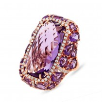0.56ct Diamond & 20.84ct Amethyst & Purple Sapphire 14k Rose Gold Ring
