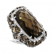 0.99ct White & Champagne Diamond & 20.66ct Smokey Topaz 14k White Gold Ring