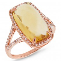 0.23ct Diamond & 6.19ct Citrine 14k Rose Gold Ring