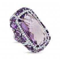 0.56ct Diamond & 20.84ct Amethyst & Purple Sapphire 14k White Gold Ring