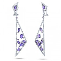 1.50ct Diamond & 4.19ct Amethyst & Purple Sapphire 14k White Gold Earrings