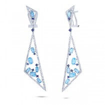1.50ct Diamond & 5.34ct Blue Topaz & Bluesapphire 14k White Gold Earrings