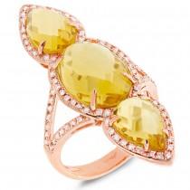 0.56ct Diamond & 8.94ct Citrine 14k Rose Gold Ring